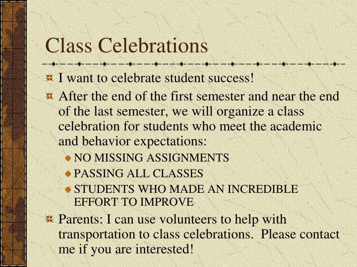 Class Celebrations