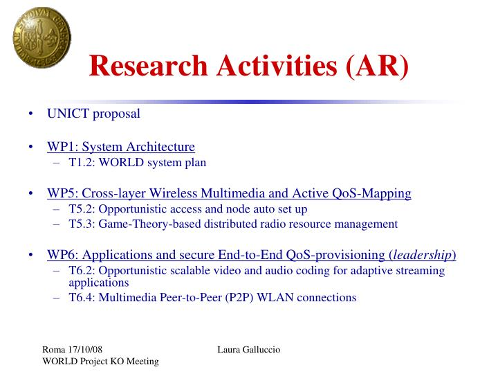 Research activities ar