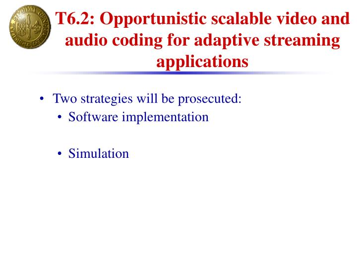 T6.2: Opportunistic scalable video and audio coding for adaptive streaming applications