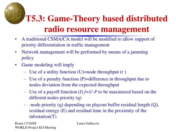 T5.3: Game-Theory based distributed radio resource management