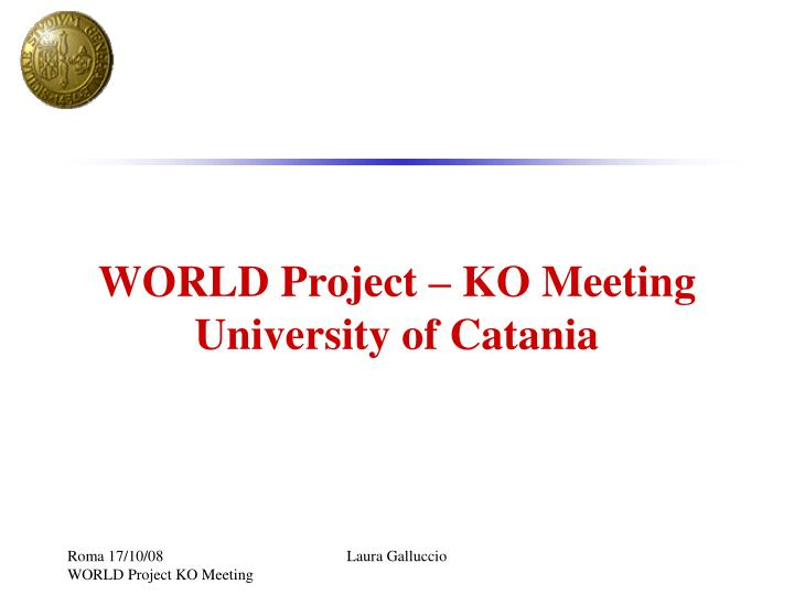 World project ko meeting university of catania