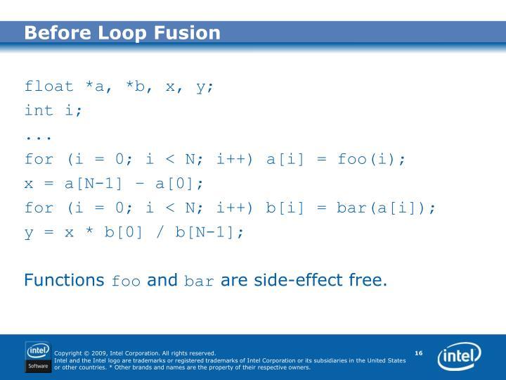 Before Loop Fusion