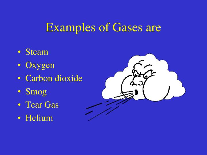 Examples of Gases are
