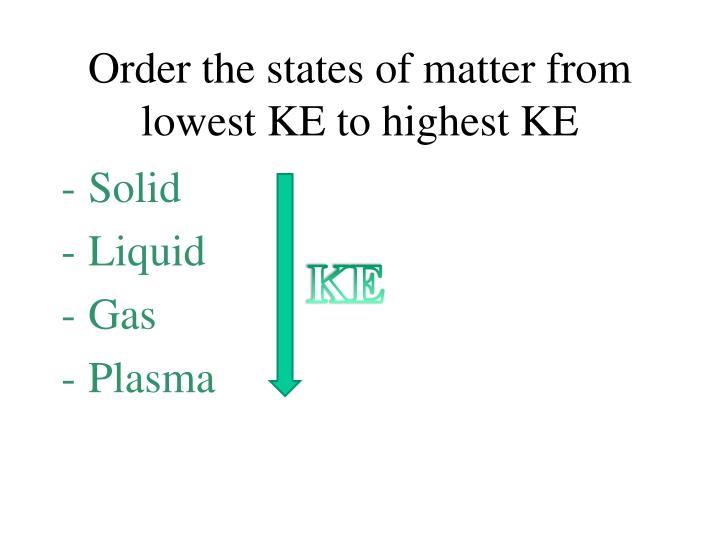 Order the states of matter from lowest KE to highest KE