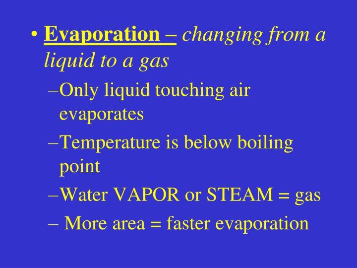 Evaporation –