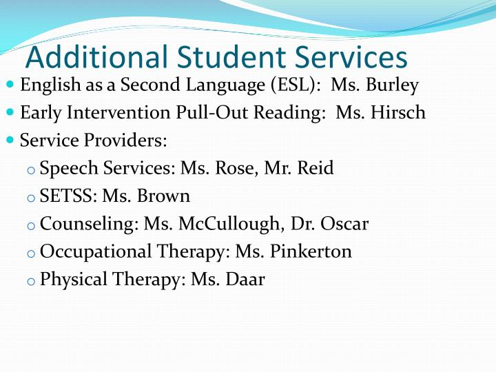 Additional Student Services
