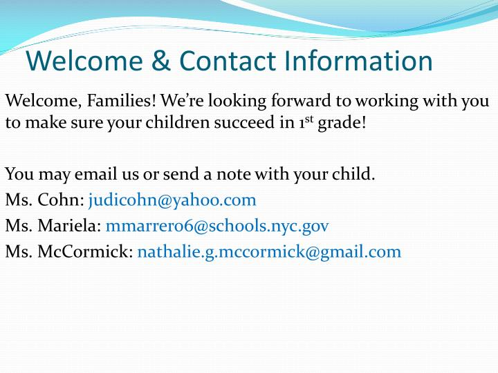 Welcome contact information