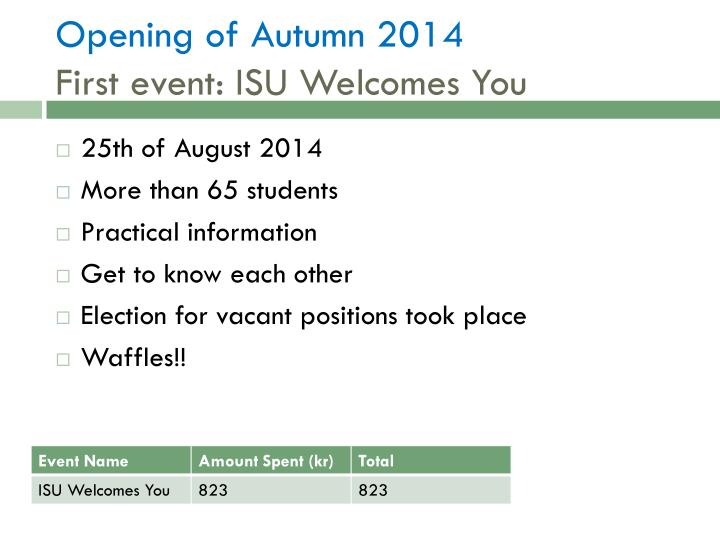 Opening of autumn 2014 first event isu welcomes you