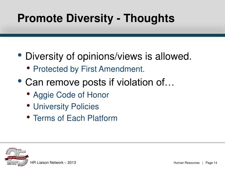 Promote Diversity - Thoughts