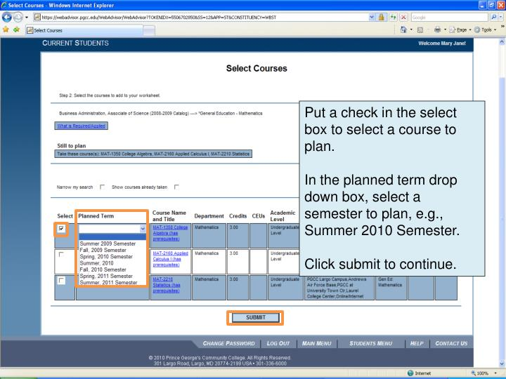 Put a check in the select box to select a course to plan.