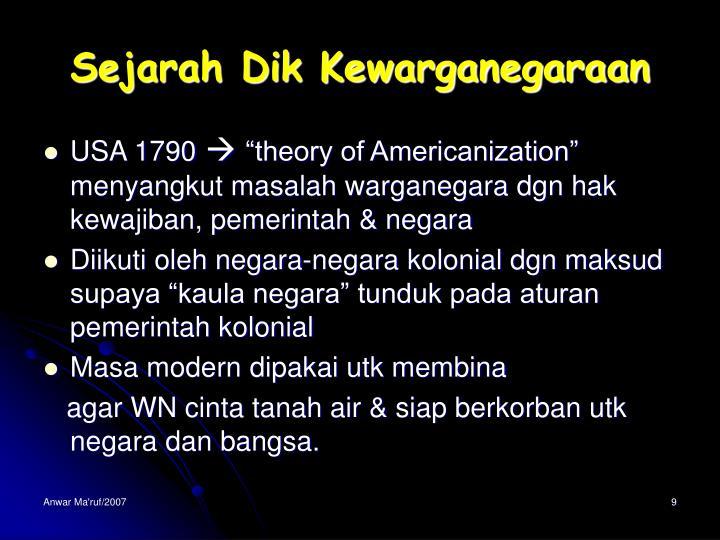 Sejarah Dik Kewarganegaraan