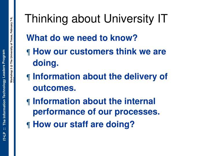 Thinking about University IT