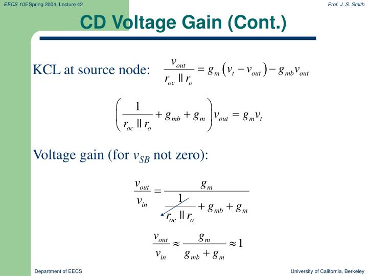 CD Voltage Gain (Cont.)