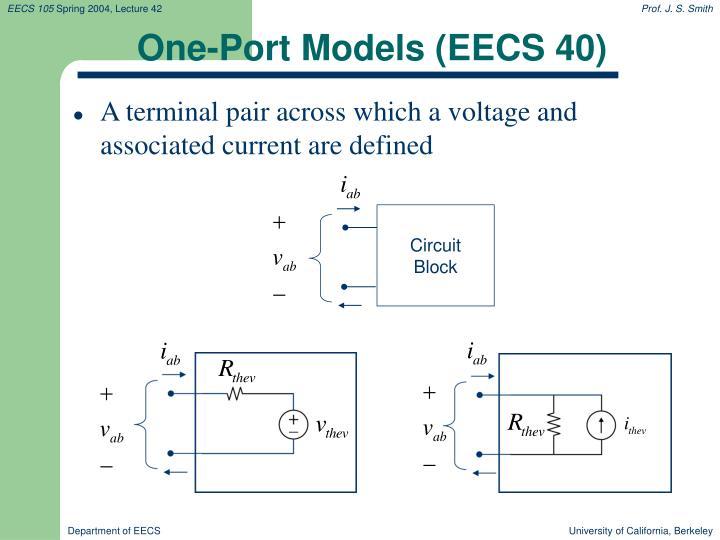 One-Port Models (EECS 40)