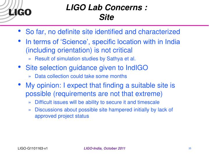 LIGO Lab Concerns :