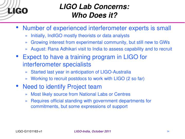LIGO Lab Concerns: