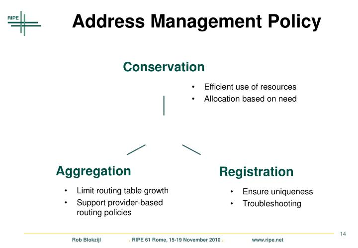 Address Management Policy