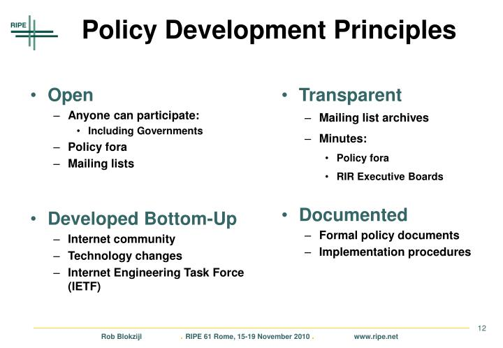 Policy Development Principles