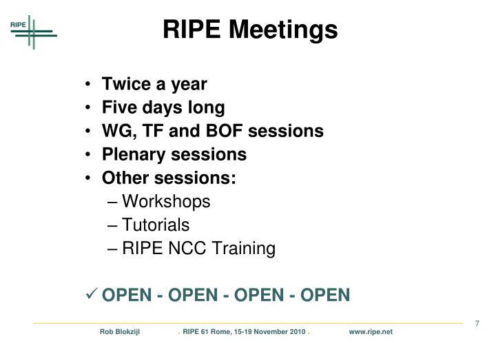 RIPE Meetings