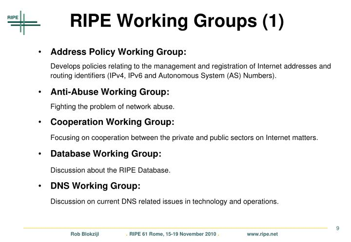 RIPE Working Groups (1)