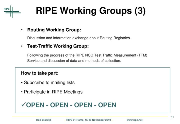 RIPE Working Groups (3)
