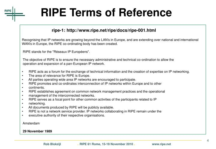 RIPE Terms of Reference