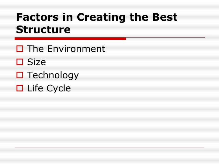 Factors in Creating the Best Structure
