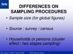 differences on sampling procedures