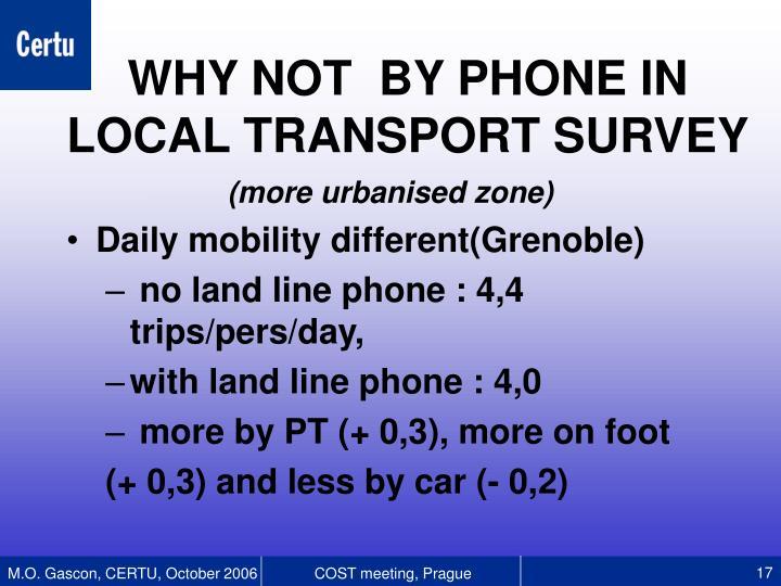 (more urbanised zone)
