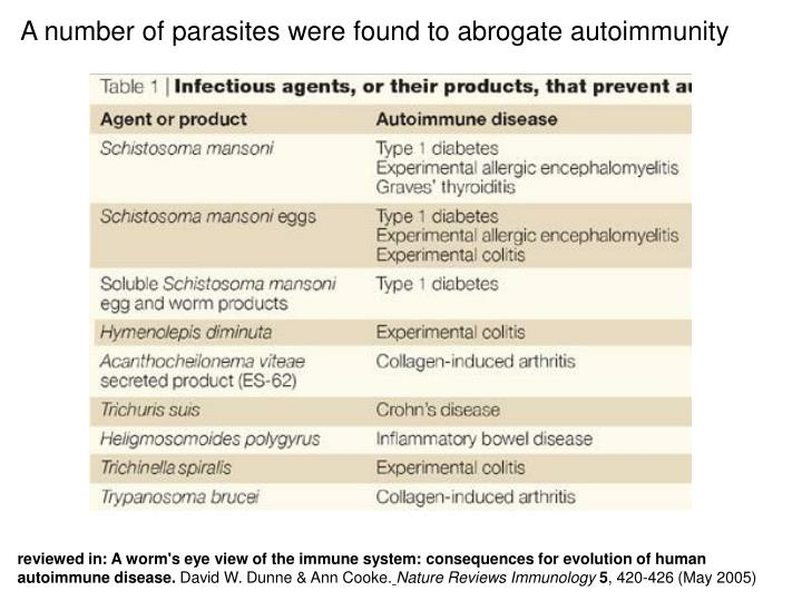 A number of parasites were found to abrogate autoimmunity