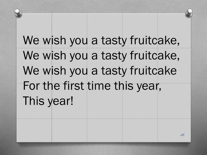 We wish you a tasty fruitcake,