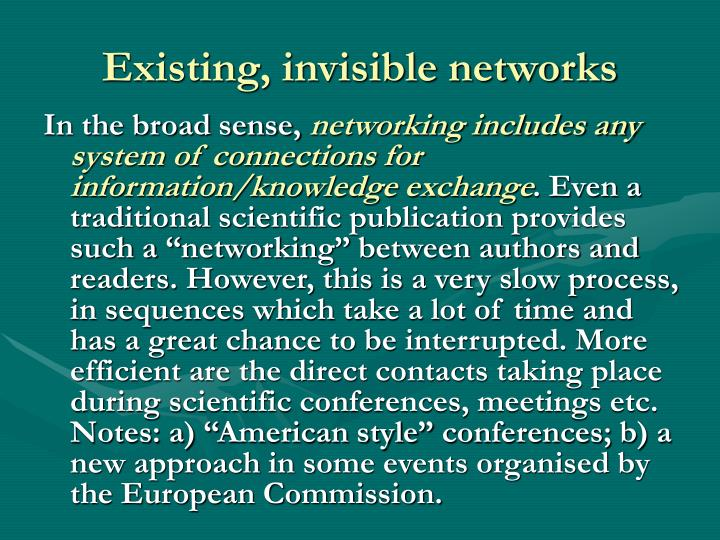 Existing, invisible networks