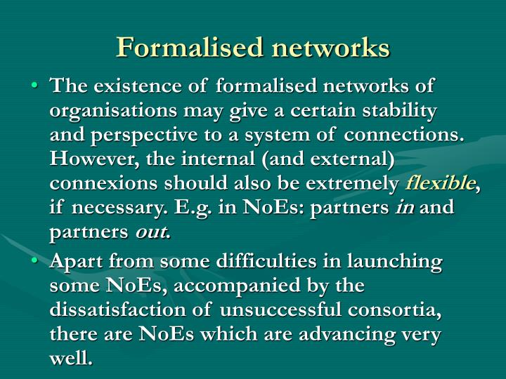Formalised networks