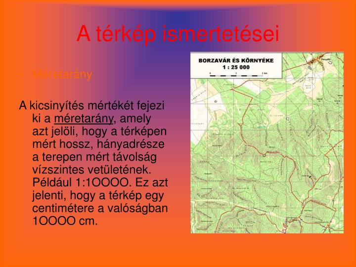A térkép ismertetései