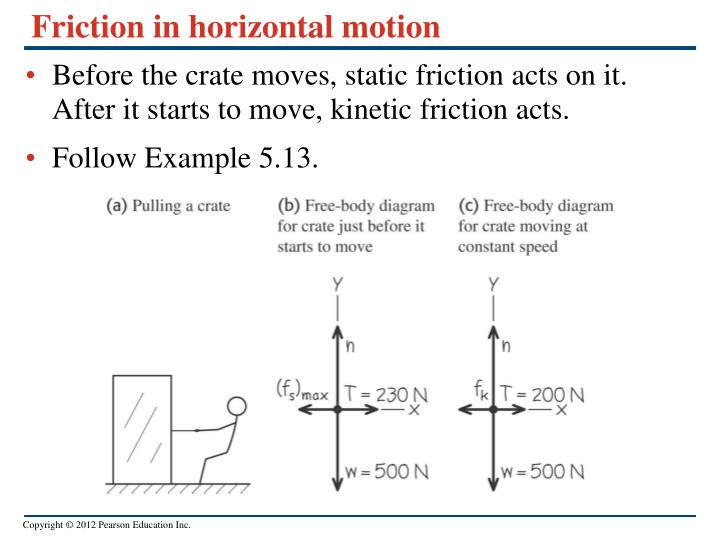 Friction in horizontal motion