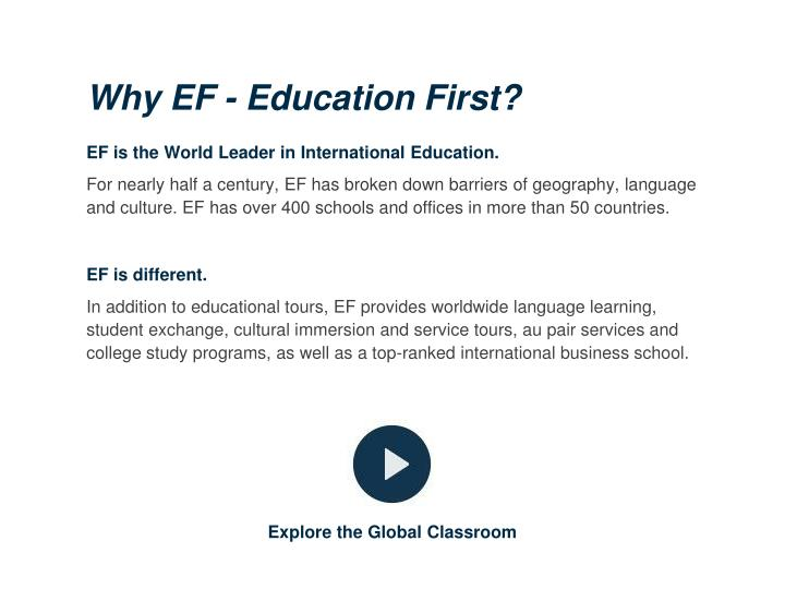 Why EF - Education First?