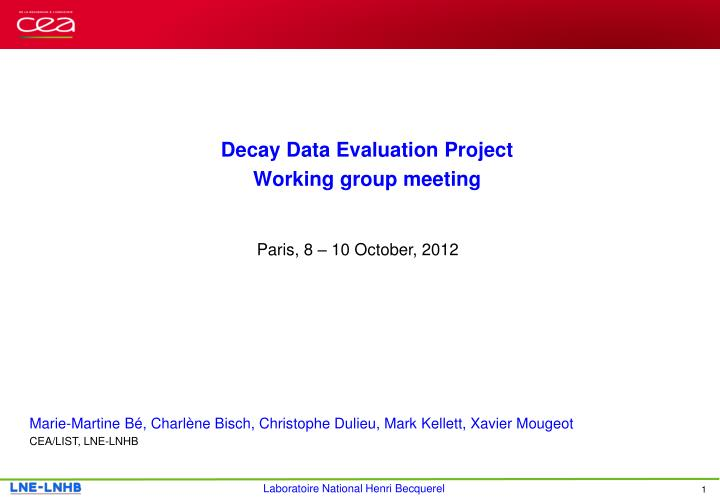 Decay Data Evaluation Project