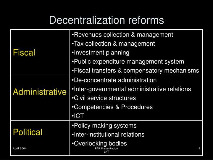 Decentralization reforms