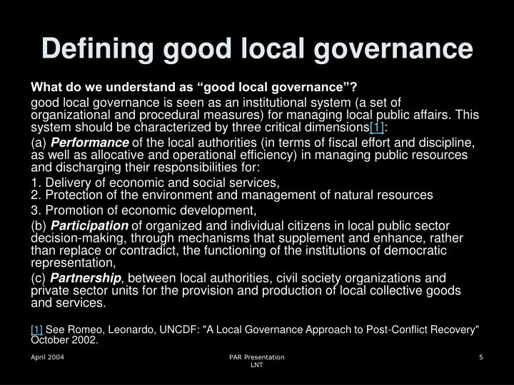 Defining good local governance