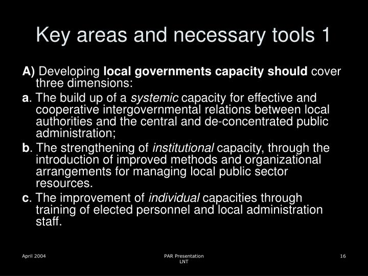 Key areas and necessary tools 1