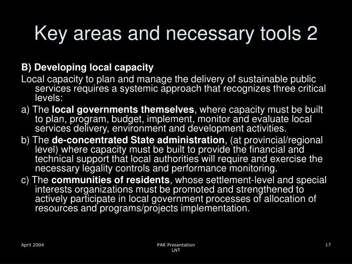 Key areas and necessary tools 2