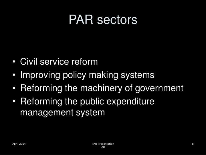 PAR sectors