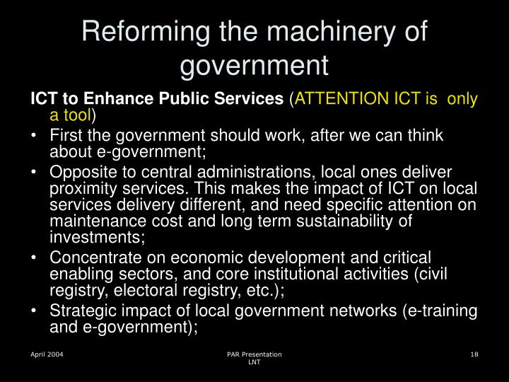 Reforming the machinery of government