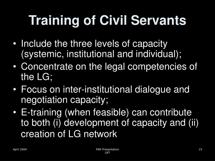 Training of Civil Servants