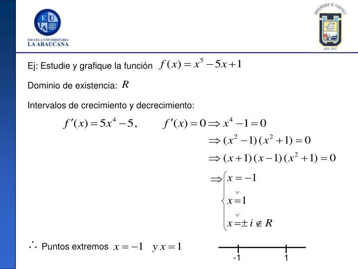 Ej: Estudie y grafique la función