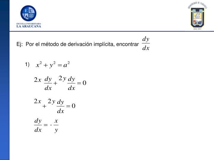 Ej:  Por el método de derivación implícita, encontrar