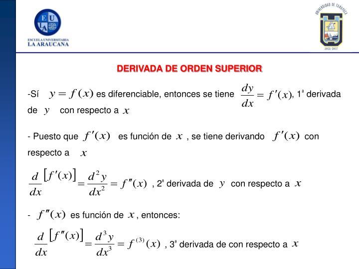 DERIVADA DE ORDEN SUPERIOR