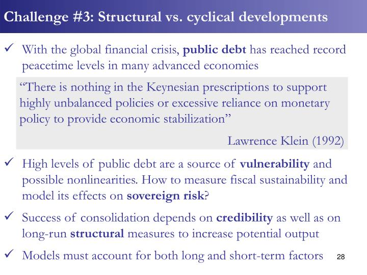 Challenge #3: Structural vs. cyclical developments