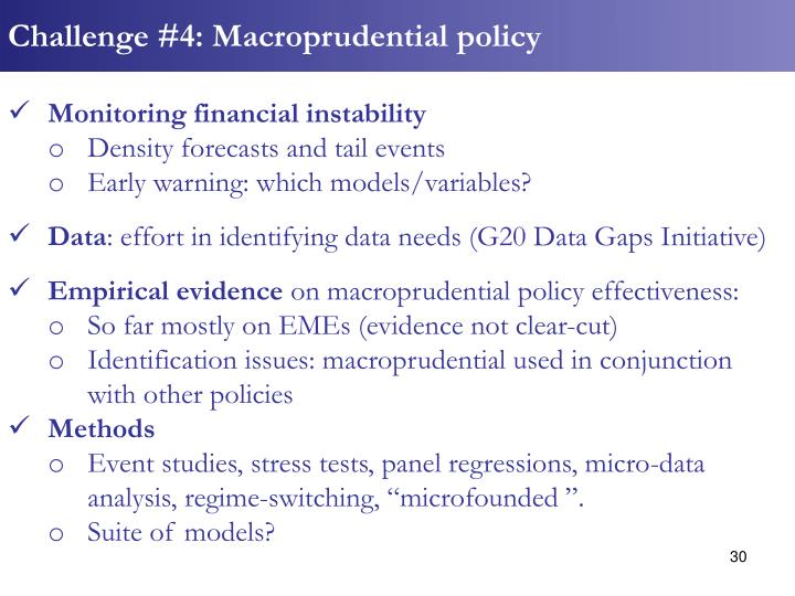Challenge #4: Macroprudential policy