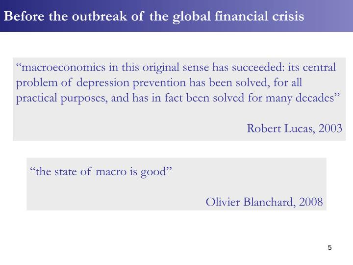 Before the outbreak of the global financial crisis
